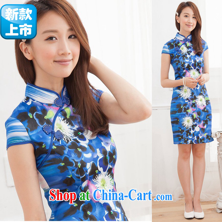 New summer outfit, improved cultivation and stylish lounge stamp daily improved short cheongsam dress blue S