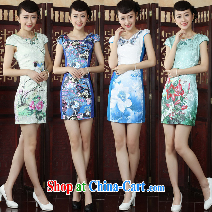 cheongsam dress summer trendy code improved round-collar low for daily beauty China wind stamp outfit M 40
