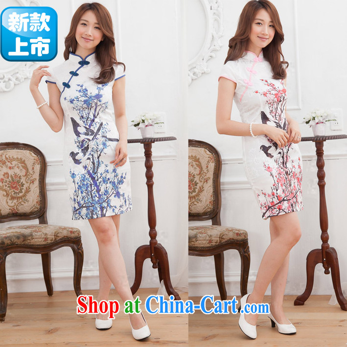 Summer new cheongsam dress suit day teenage fashion improvement does not open the truck Magpies Phillips cheongsam dress blue XL