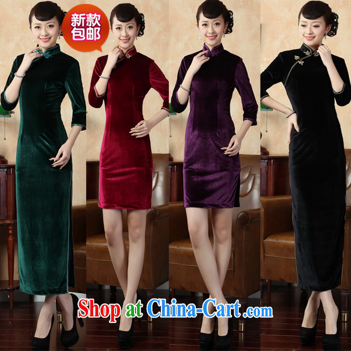 High quality gold velour solid spring new retro, long-sleeved improved stylish robes long long dark green XXL