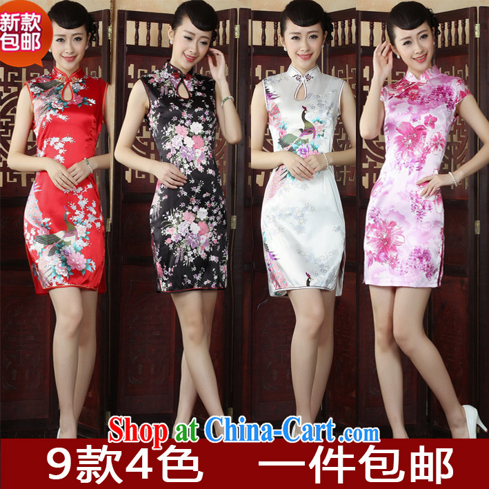 Autumn new cheongsam stylish improved black beauty video thin floral emulation, the code cheongsam dress red Peacock XL