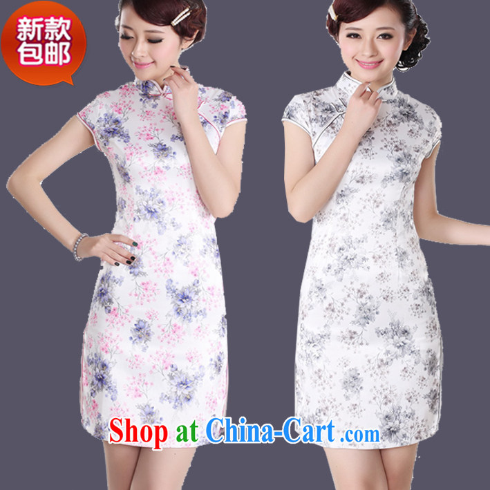 idyllic small fresh floral cheongsam dress summer short improved emulation, daily outfit gray flower XXL