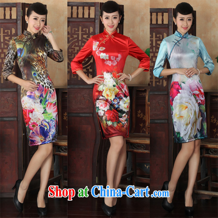 2015 new cuff in cheongsam dress, spring improved stylish retro velvet cheongsam style women's clothing 30 sky XL