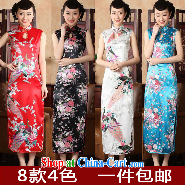 Summer short-sleeved dresses long cultivating retro welcome dress improved daily high on the truck long cheongsam dress Lake blue Peacock XXL