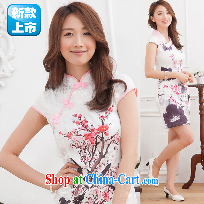 Summer new cheongsam dress ink Lotus Chinese Antique style girls beauty improved cheongsam picture color S