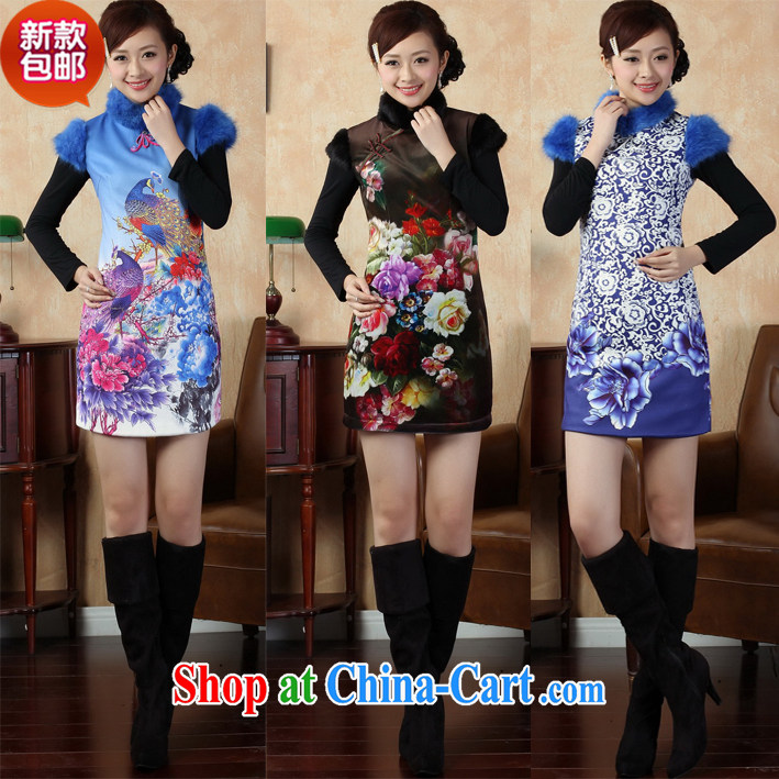 winter clothes and stylish new blue and white porcelain cheongsam dress improved retro Ethnic Wind Gross Gross for what 019 qipao XXL