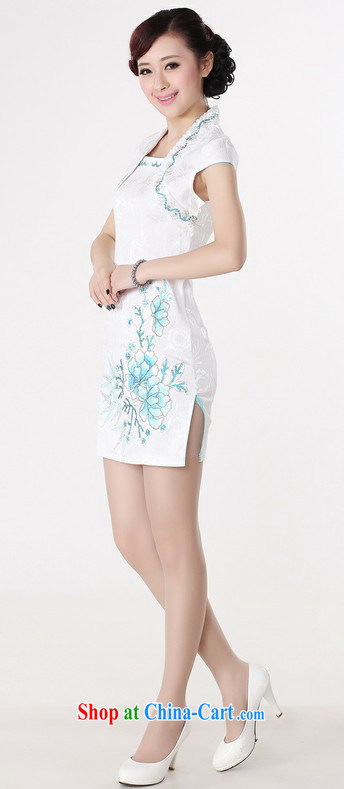 cheongsam stylish improved summer new short-sleeved white collar beauty graphics thin large code cheongsam dress white support 7 days no reason
