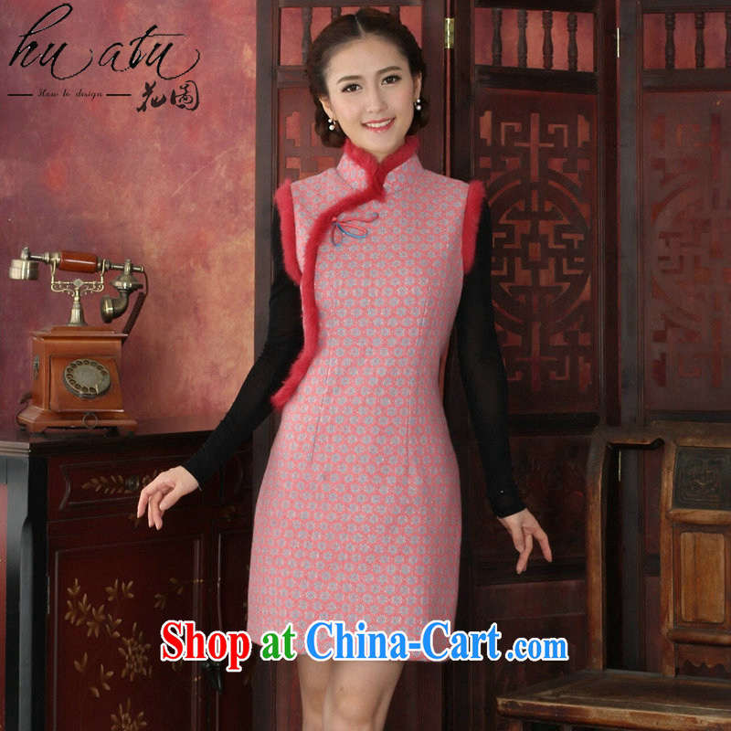 spend the winter cheongsam dress Chinese, Chinese style thick lace cheongsam rabbit hair flower clip cheongsam dress dress pink 3 XL