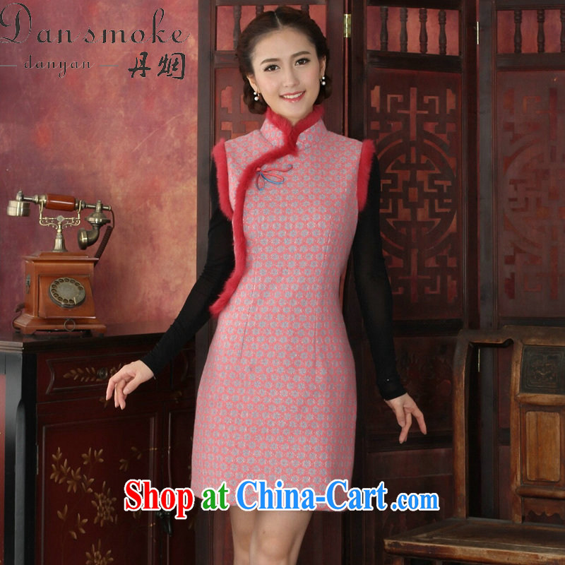 Dan smoke-free fall and winter cheongsam dress Chinese, Chinese style thick lace cheongsam rabbit hair flower clip cheongsam dress dress pink 2 XL