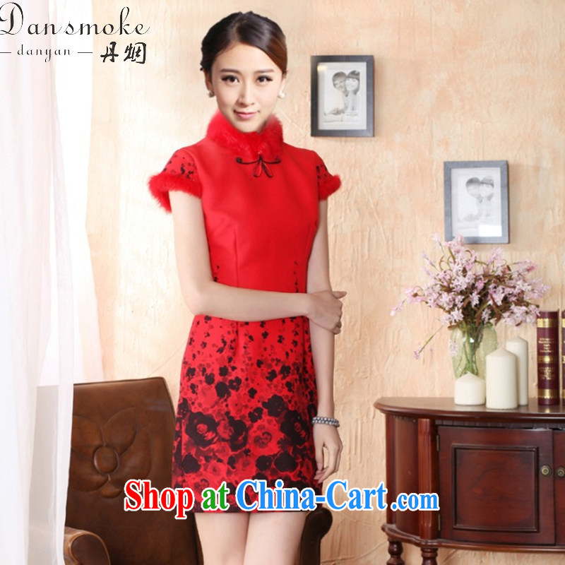 Dan smoke-free fall and winter cheongsam dress with short hair is improved rabbit hair for bridal dresses ebullient red cheongsam qipao annual red XL