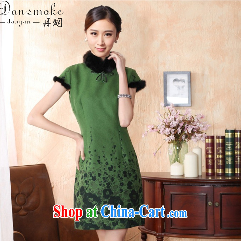 spend the winter cheongsam dress with short hair is improved rabbit hair for bridal dresses ebullient red cheongsam qipao annual green XL
