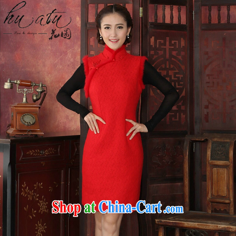 Take the cheongsam dress Tang with winter clothes dresses thick composite lace-up collar rabbit hair collar cheongsam dress festive qipao gown red 2 XL