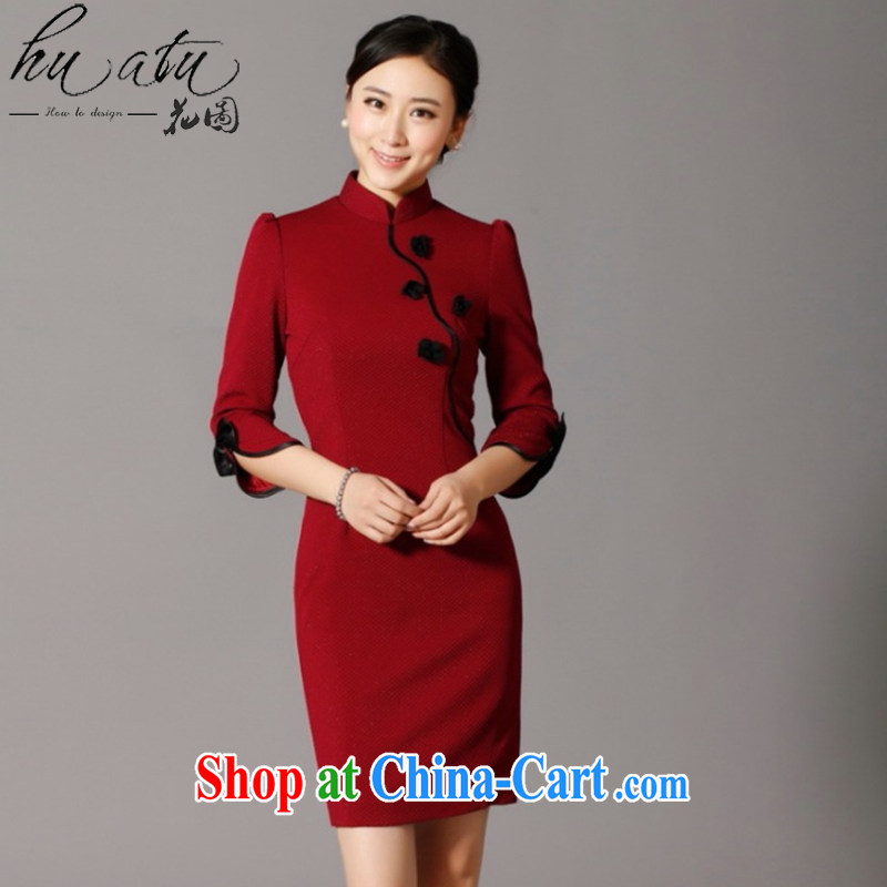 Take the cheongsam dress SPRING CHINESE improved, manually for three-dimensional flower knitting fashion cheongsam dress cheongsam banquet serving wine red 3XL
