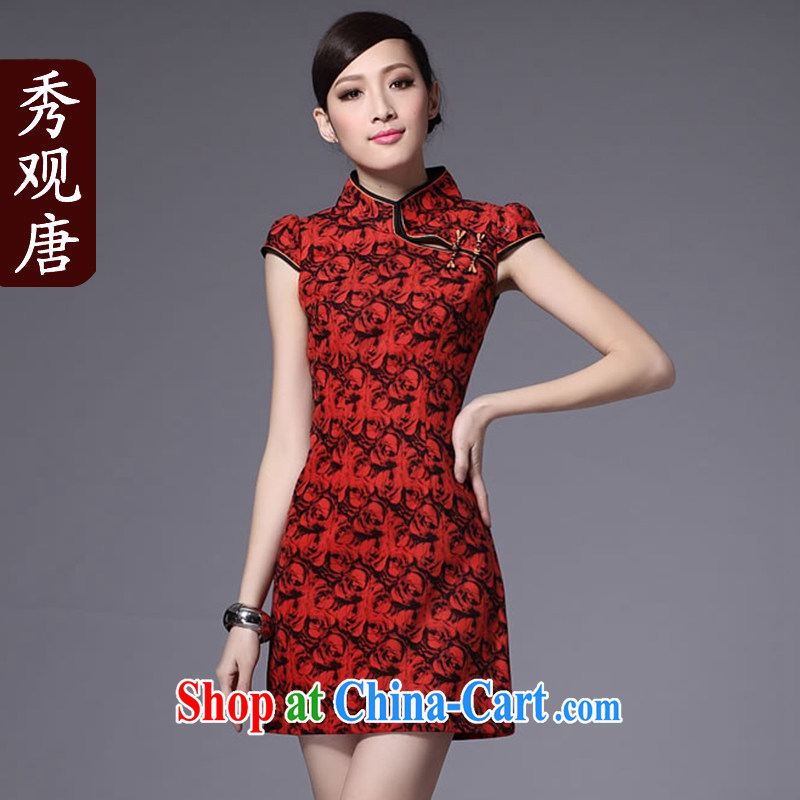 Cyd Ho KWUN TONG rose laugh spring outfit/hair collar to remove cheongsam/stylish improved cheongsam/G 130,120 red XXL