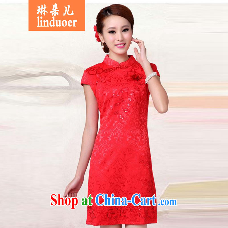 Lin's flowers 2015 dresses marriage toast serving new summer red wedding dress high collar dress cheongsam red S
