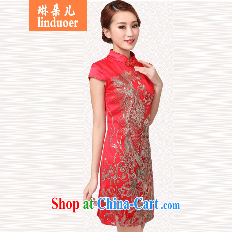 Lin's Flower Spring 2015 bridal dresses serving toast wedding dress retro improved annual fashion dress short red XL
