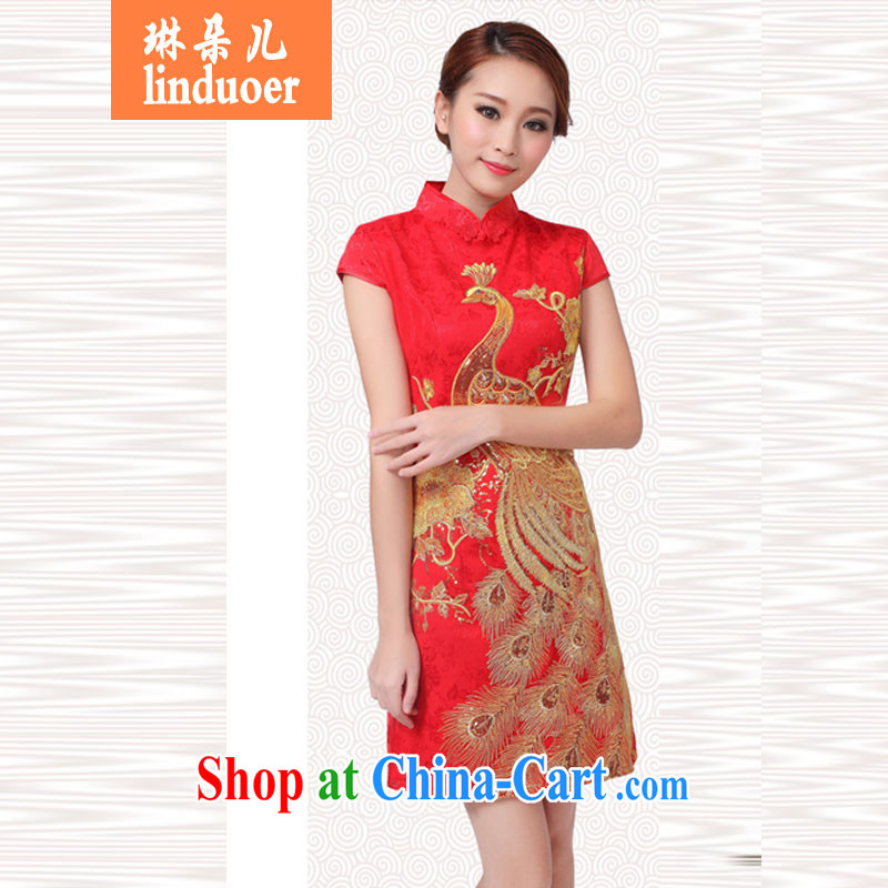 Lin's Flower Show 2015 annual wedding dress bridal wedding retro improved red toast serving short cheongsam Kim Peacock XL