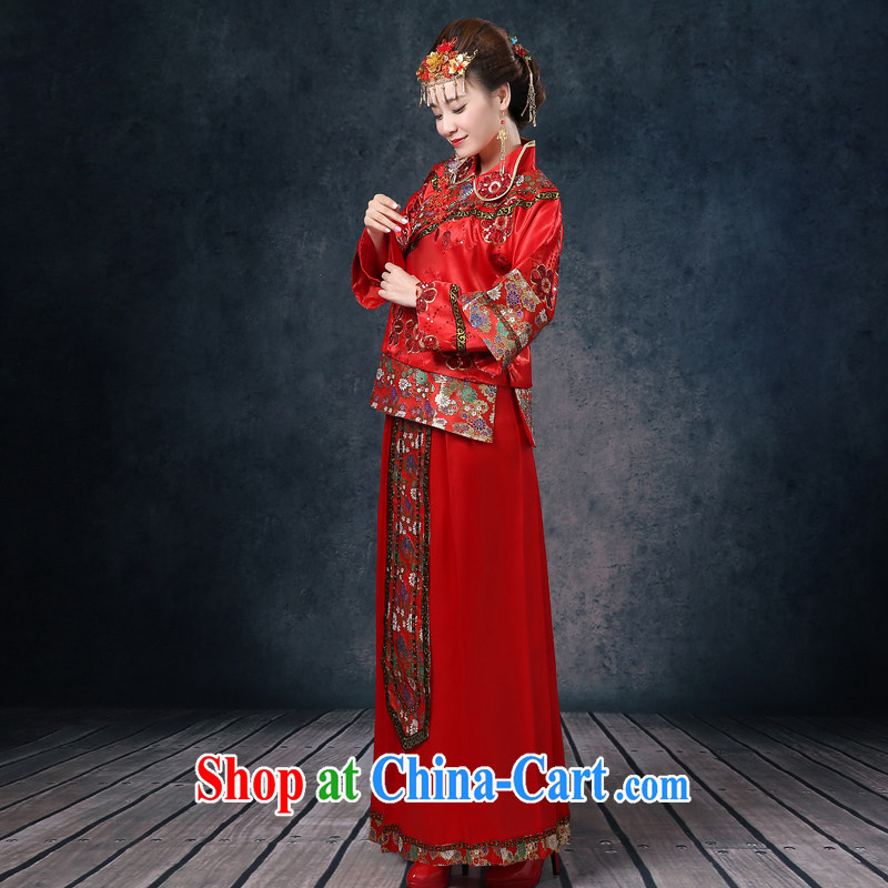 Show reel Service Bridal wedding dress red Chinese Antique long-sleeved long serving toast wedding dresses show kimono Dragon pregnant women use to wear cheongsam dress code summer dress red XL