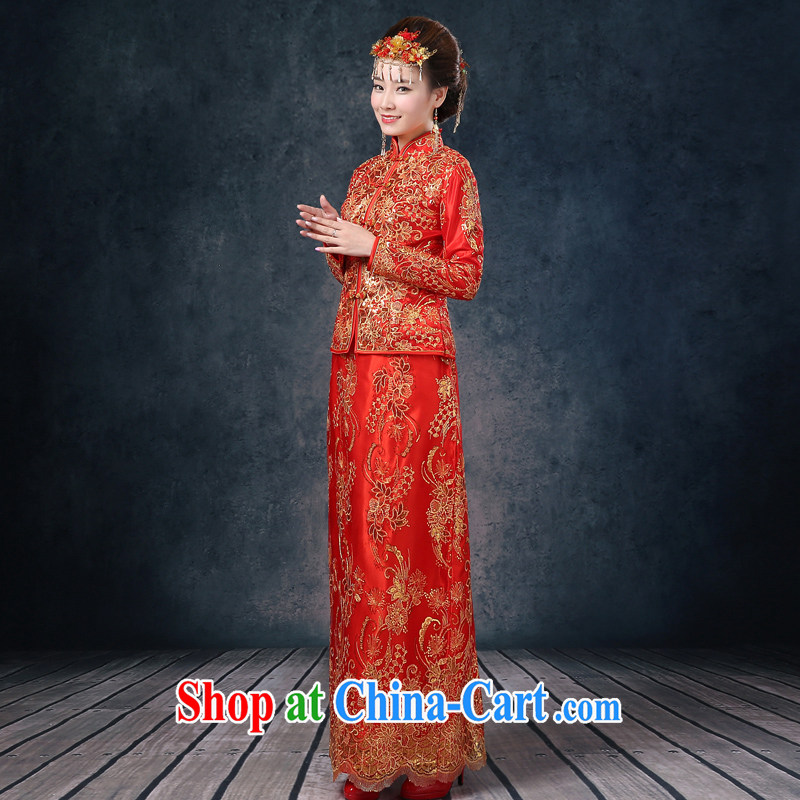 Use Phoenix Is Not Su-wo clothing Chinese Dress long robes bows service improved retro married Yi bridal long-sleeved style wedding dress summer 2015 New Red XL