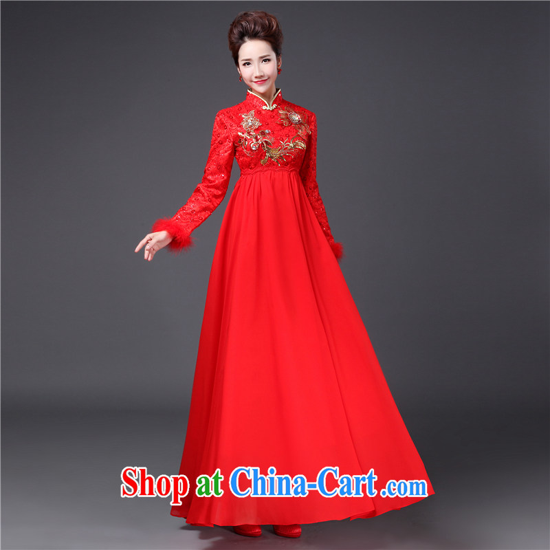 Jie MIA toast Service Bridal Fashion 2014 new winter red long-sleeved, wedding dresses winter clothing high waist pregnant women dress red XXXL