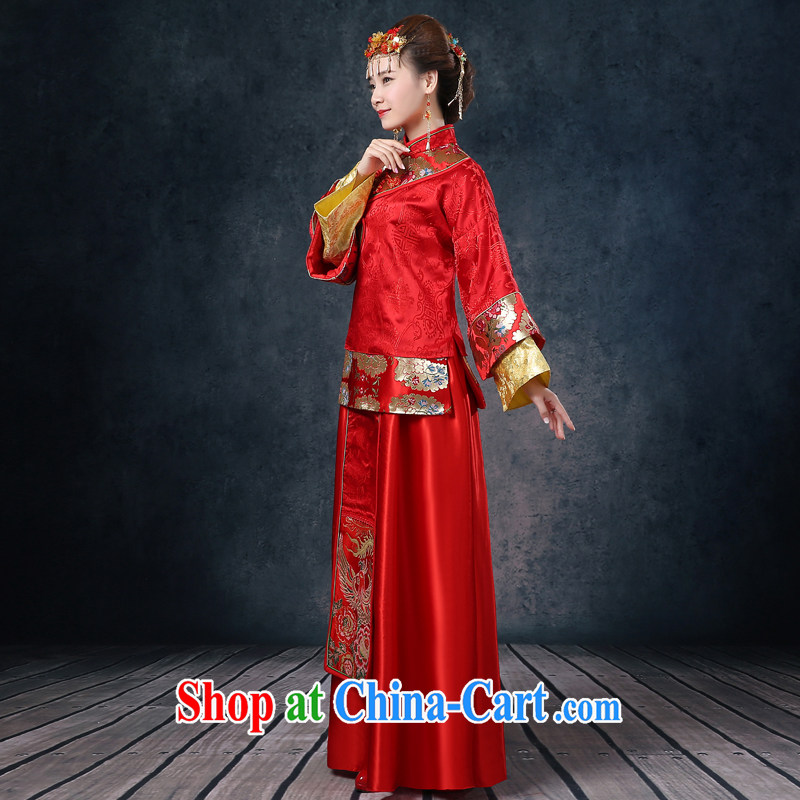 Summer 2015 new bride wedding dresses red toast serving long-soo kimono Chinese wedding dress long-sleeved dresses Soo Wo service use phoenix retro married Yi red XL