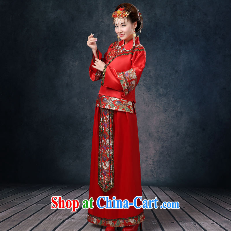 Su-wo service summer 2015 new upscale retro bridal gown pregnant women red toast clothing Chinese wedding dress marry Yi use phoenix girl cheongsam red XL