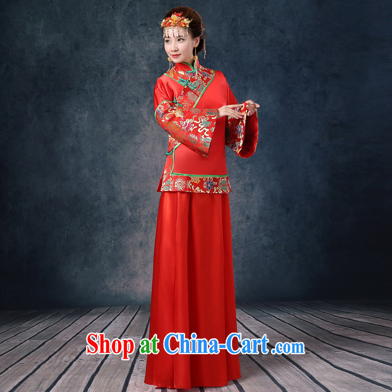 Summer 2015 new show reel service bridal gown red long Chinese Antique woman serving toast wedding dresses long sleeved Phoenix use female dresses red XL