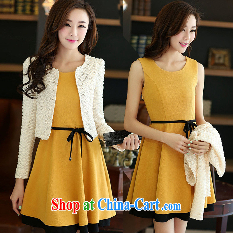 Ya-ting fall 2014 Women's clothes new Korean style beauty skirt long-sleeved two-piece dresses orange XXL