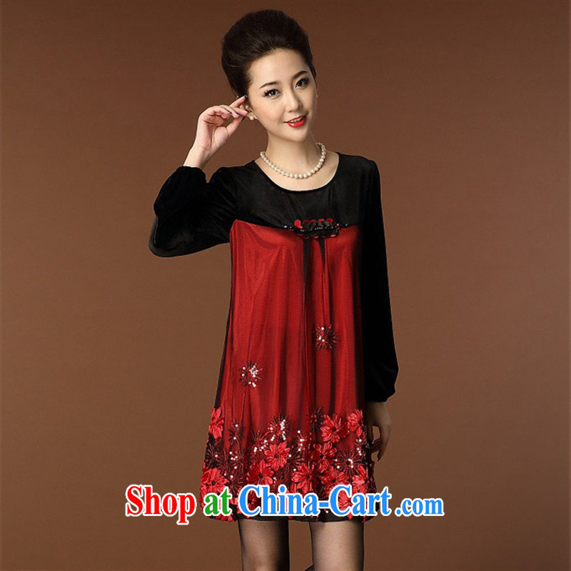 Ya-ting in 2014 older women with autumn embroidery long-sleeved dress code the mother load autumn female blue XXXL