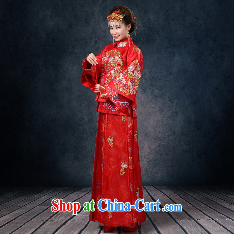Show reel service marriages red bows dress Chinese wedding show kimono girls long-sleeved dresses retro married Yi bows service 2015 new summer red XL