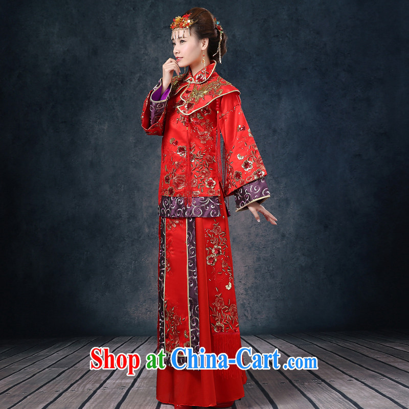 Show groups serving Phoenix and Cherrie Ying, costumed bride married Yi red Chinese wedding toast serving long-sleeved wedding dress show kimono 2015 summer New Red XL