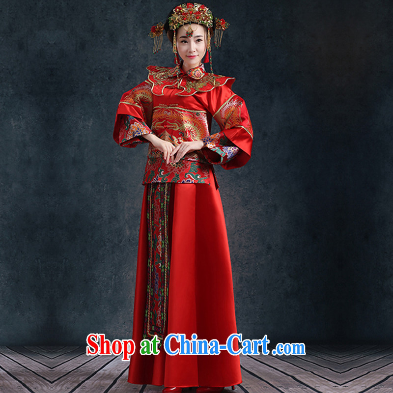 New 2015 bridal show groups serving Chinese style wedding toast long-sleeved clothing wedding dresses red long cheongsam dress retro-su summer kimono New Red XL