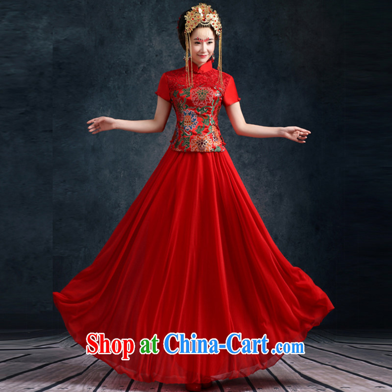 Bridal wedding dress retro toast serving long dresses, cheongsam dress improved Su-wo service dresses short sleeve summer 2015 New Dragon Snow use woven female Red M