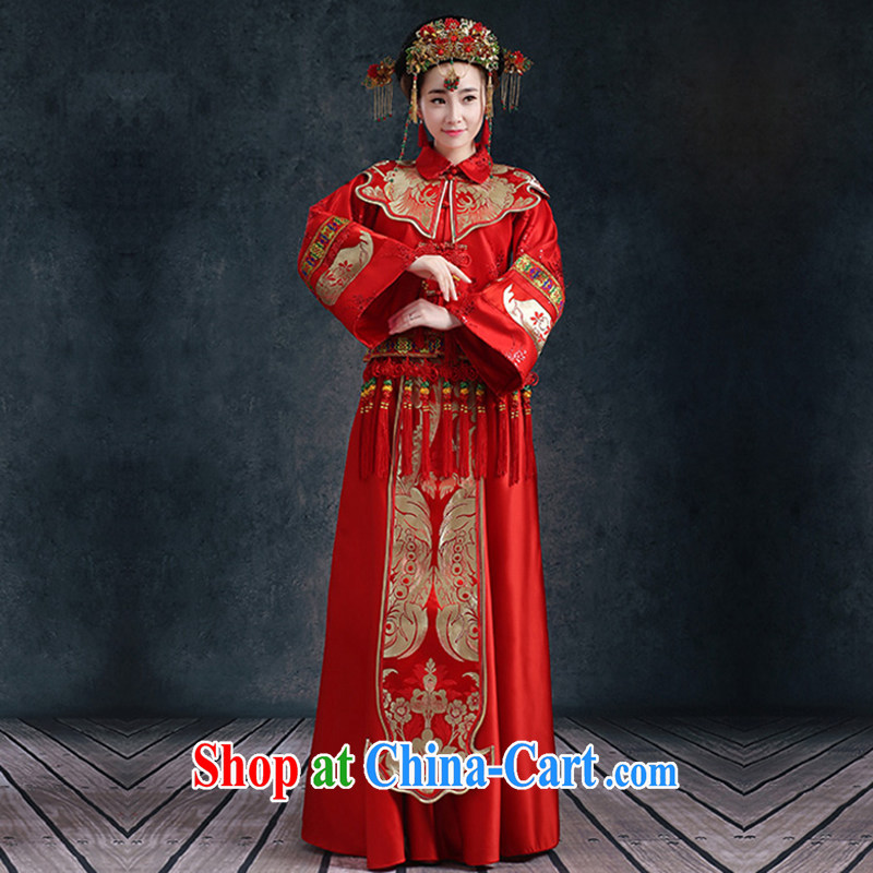 Ms Audrey EU Qi Su-wo clothing Chinese wedding dress Phoenix bride and married Yi long-sleeved robes bows serving the code summer cultivating new female Red XXL