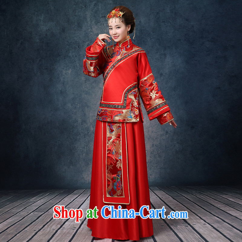 Wei Qi Su-wo service Chinese married women dress summer new pregnant women married Yi red phoenix use long-sleeved retro dresses toast serving the Code Red XXL