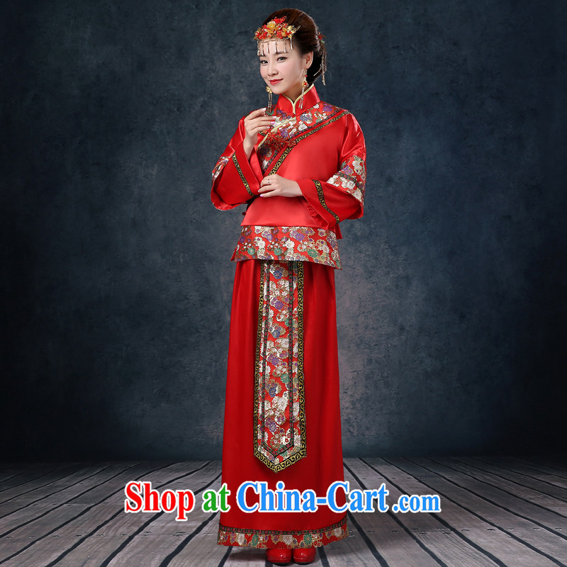 Wei Qi Su Wo service 2015 summer new bridal gown red Chinese Antique woman serving toast marriage long-sleeved dresses Phoenix pregnant women use red XXL