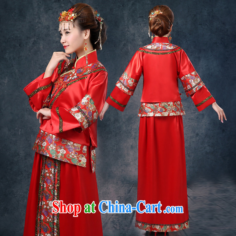 Wei Qi Su Wo service 2015 summer new bridal gown red Chinese Antique woman serving toast marriage long-sleeved dresses Phoenix pregnant women use red XXL Qi, Ms Audrey EU Yuet-mee, QI WAVE), online shopping
