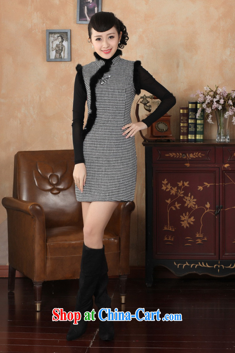 Shanghai, optimize purchase Chinese improved cheongsam dress short skirt winter clothing new, Retro improved tartan wool? rabbit hair collar cheongsam Y 0031 red 40/XXL pictures, price, brand platters! Elections are good character, the national distribution, so why buy now enjoy more preferential! Health