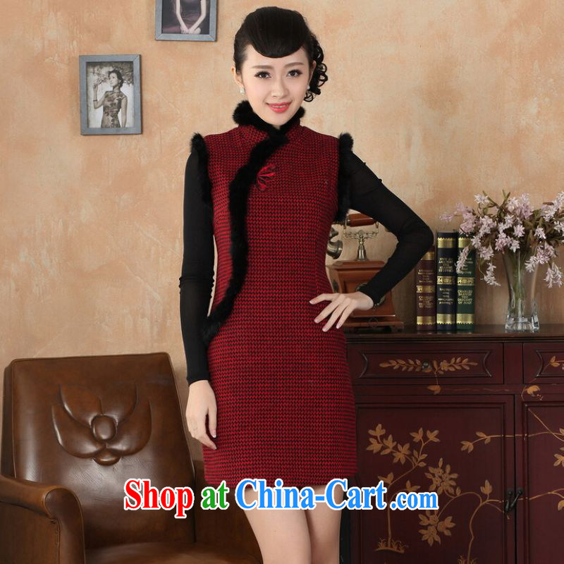 Shanghai, optimize purchase Chinese improved cheongsam dress short skirt winter clothing new, Retro improved tartan wool? rabbit hair collar cheongsam Y 0031 red 40/XXL