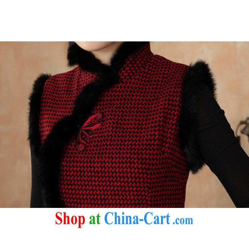 Shanghai, optimize purchase Chinese improved cheongsam dress short skirt winter clothing new, Retro improved tartan wool that rabbit hair collar cheongsam Y 0031 red 40/XXL, Shanghai, optimization, and, shopping on the Internet