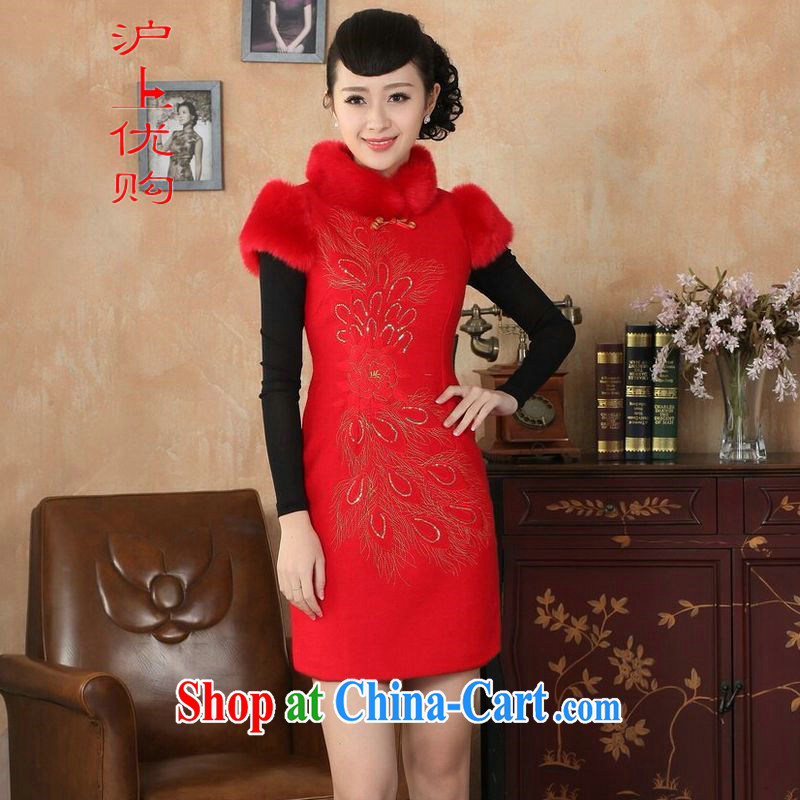 Shanghai, optimize purchase Chinese improved cheongsam dress short skirt winter clothing new, retro-beauty embroidery cotton robes Y 0030 red 40_XXL