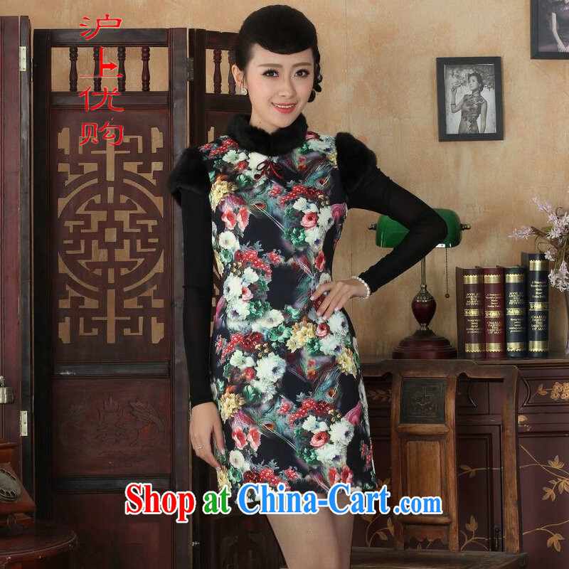 Shanghai, optimize purchase Chinese improved cheongsam dress short skirt winter clothing New-wool dresses beauty picture color 40_XXL