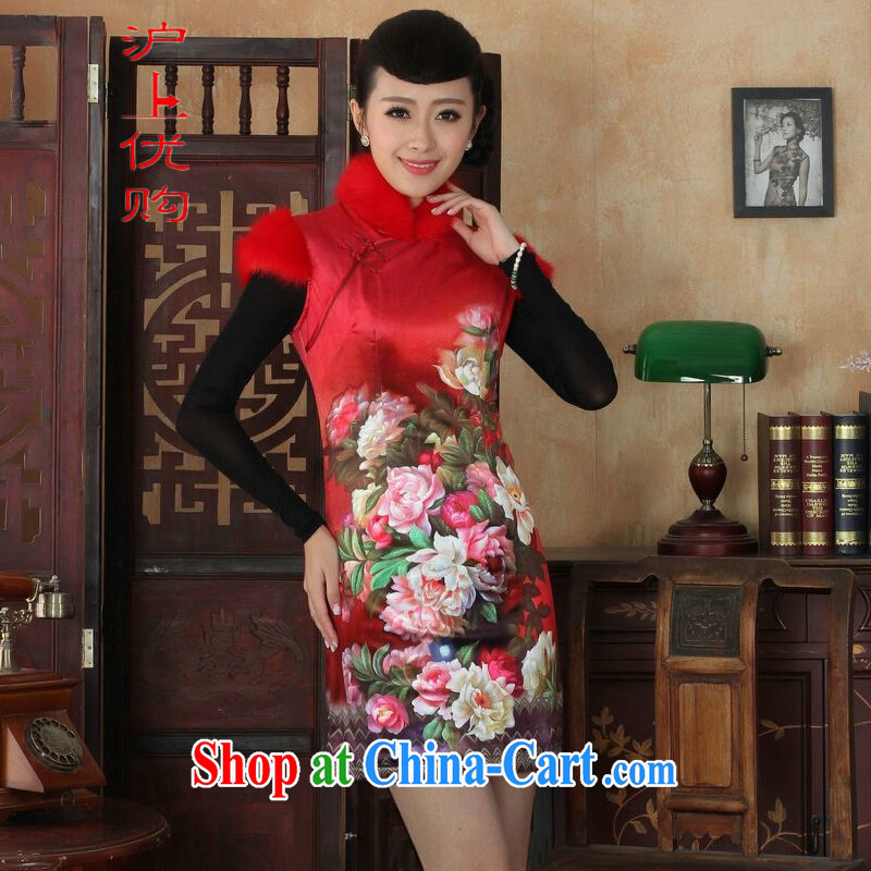 Shanghai, optimize purchase Chinese improved cheongsam dress short skirt winter clothing New-wool and cotton cultivation cheongsam red 40_XXL