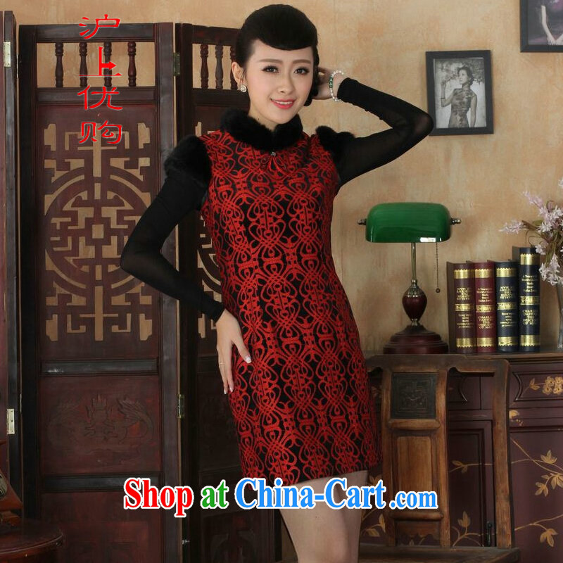 Shanghai, optimize purchase Chinese improved cheongsam dress short skirt winter clothing New-stretch lace gold velour cheongsam beauty skirt Y 0024 red 40/XXL