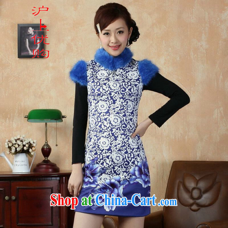 Shanghai, optimize purchase Chinese improved cheongsam dress short skirt winter clothing New-cotton cultivating cheongsam Y 0018 blue 40/XXL