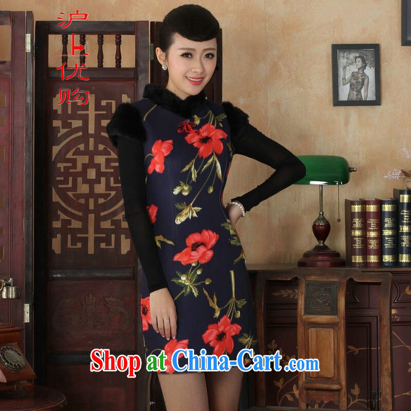 Shanghai, optimize purchase Chinese improved cheongsam dress short skirt winter clothing New-wool dresses beauty Y 0027 photo color 40_XXL