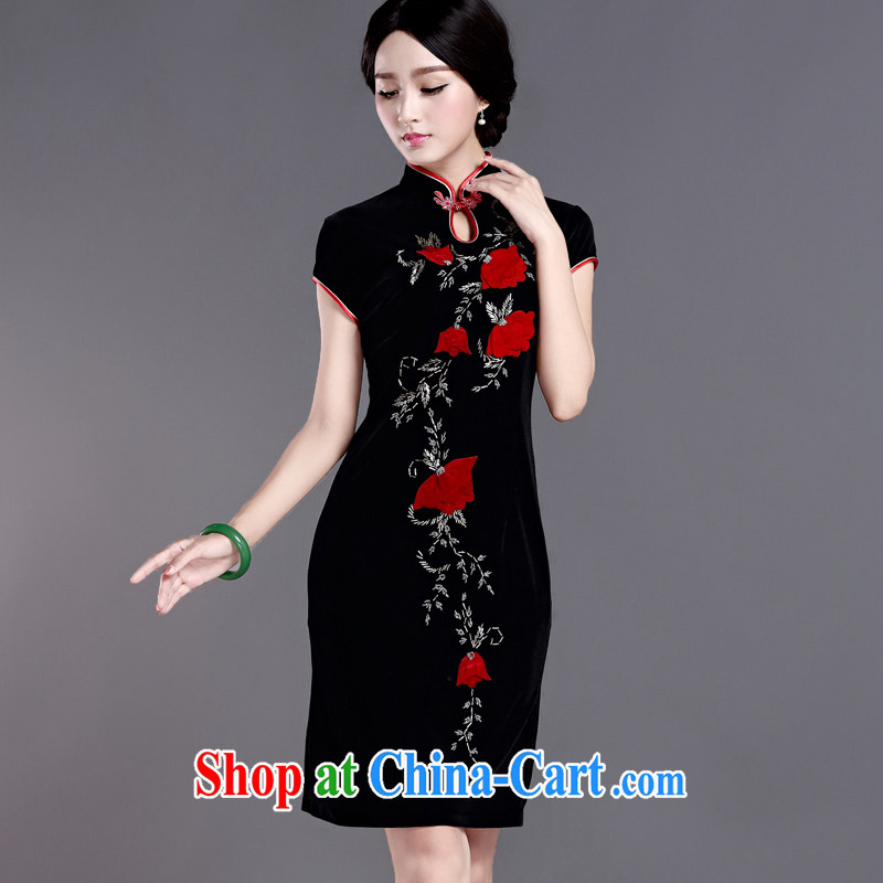 The cross-Atlantic Windsor saffron 2015 spring antique stamp Silk Velvet cheongsam style daily improved short-sleeve cheongsam dress H D Black 3 XL