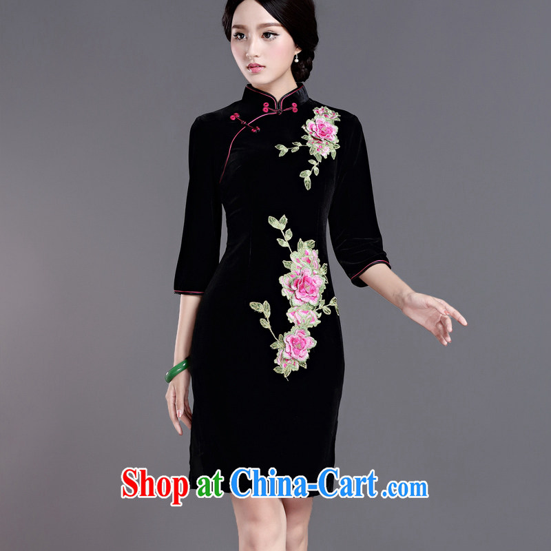 The Yee-Windsor life 2015 new autumn and winter clothes cuff in gold velour cheongsam dress embroidery retro daily improved stamp cheongsam H D Black 2 XL