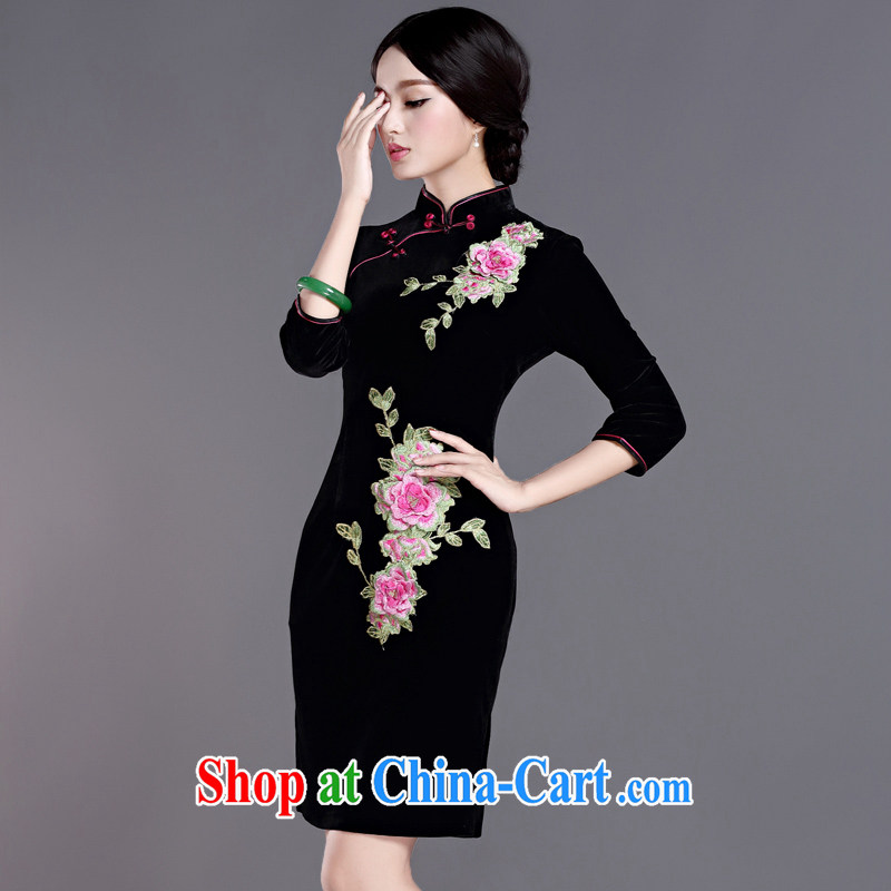 The cross-sectoral Windsor life 2015 new autumn and winter clothes cuff in gold velour cheongsam dress embroidery retro daily improved stamp cheongsam H D Black 2 XL, cross-sectoral, Elizabeth, and shopping on the Internet