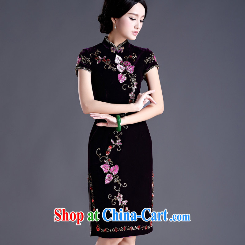 The cross-sectoral and Elizabeth fall/winter new, long, middle-aged, High Quality plush banquet dress manually staple pearl river water drilling elegant qipao dresses H D purple (short-sleeved) 2 XL